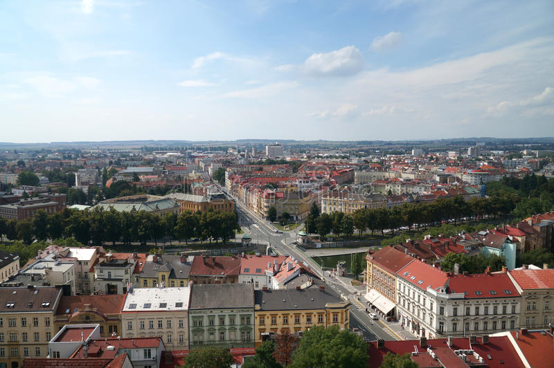 Hradec Kralove. Czech republic -  city from white tower in summer stock photo