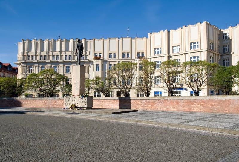 Hradec Kralove, Czech republic. Masaryk Square with Masaryk statue in town Hradec Kralove, Czech republic stock photo