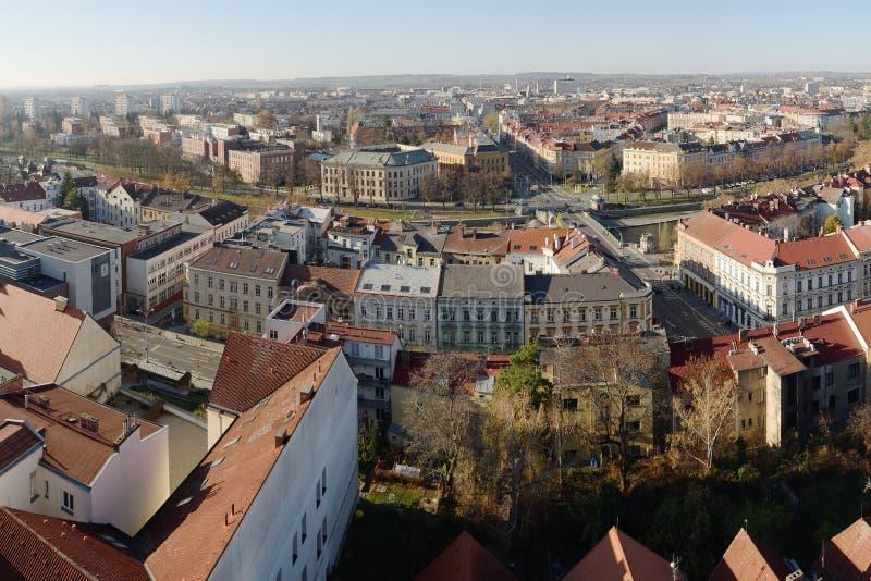 Hradec Kralove, Czech republic - November 17, 2018: buildings of Hradec Kralove city in day 29th anniversary of the Velvet royalty free stock photography