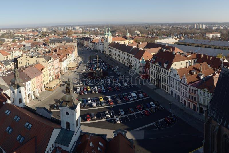 Hradec Kralove, Czech republic - November 17, 2018: houses and cars on Velke namesti square in day 29th anniversary of the Velvet royalty free stock photo
