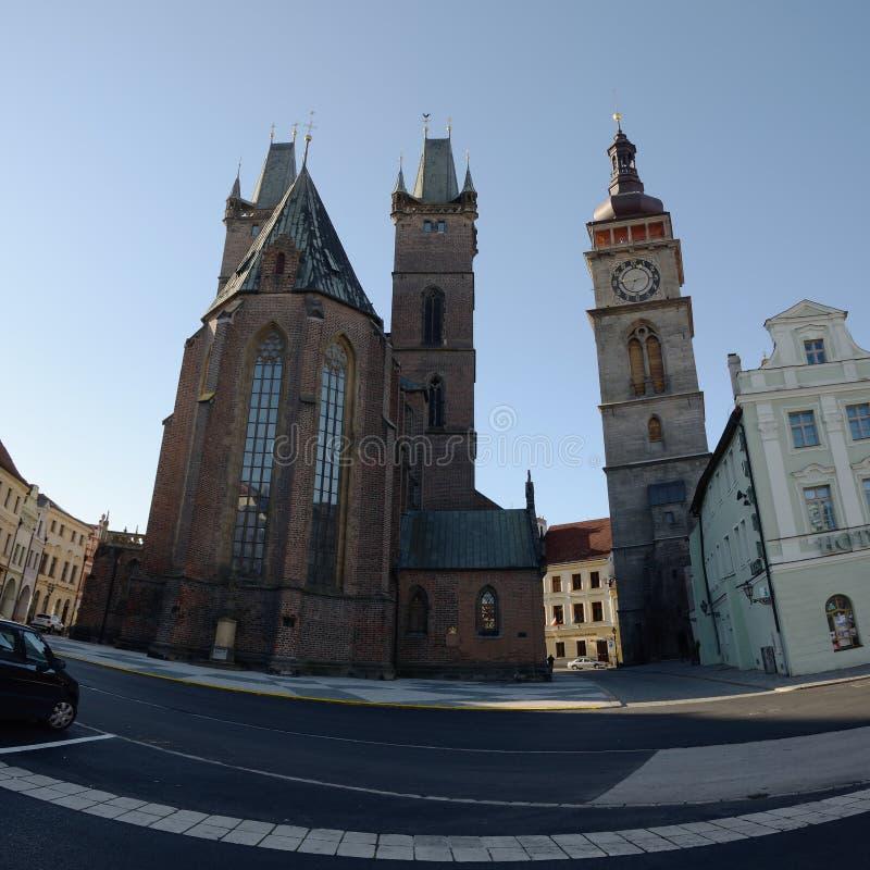 Hradec Kralove, Czech republic - November 17, 2018: Katedrala sv. Ducha kathedrale and Bila vez tower on Velke namesti square in royalty free stock photography