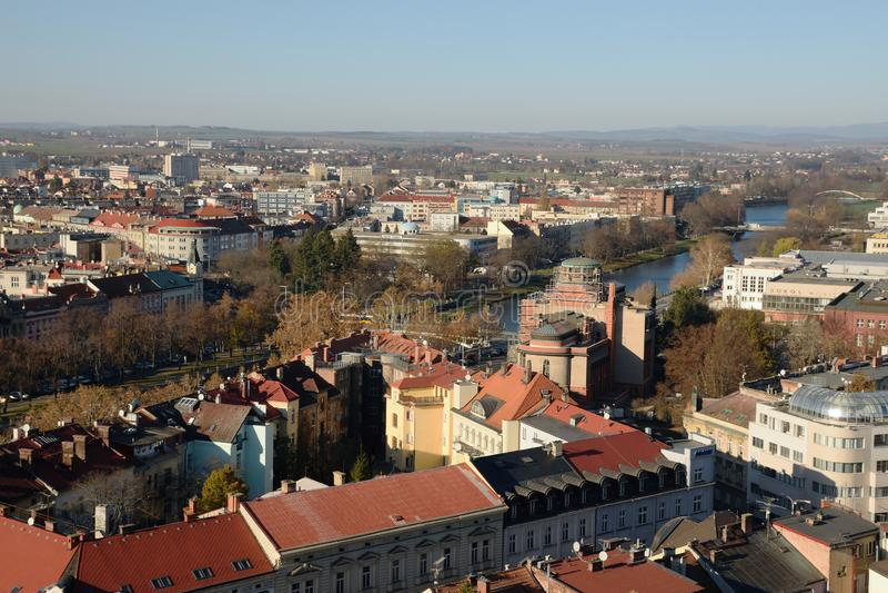 Hradec Kralove, Czech republic - November 17, 2018: Labe river in centre of city in day 29th anniversary of the Velvet Revolution royalty free stock images