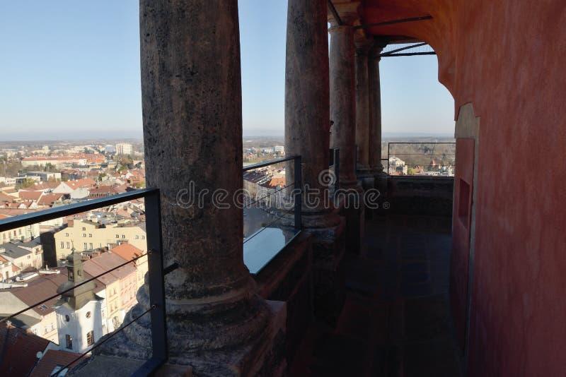 Hradec Kralove, Czech republic - November 17, 2018: on top of Bila vez tower in day 29th anniversary of the Velvet Revolution 1989 royalty free stock images
