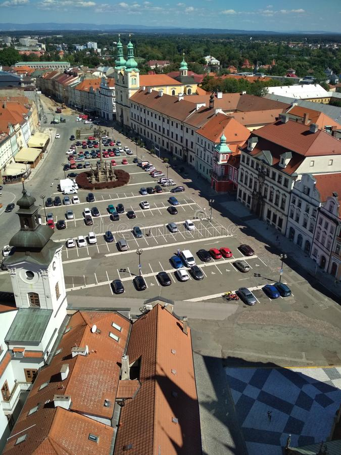 HRADEC KRALOVE, CZECH REPUBLIC - view from above of the ancient European city royalty free stock photos
