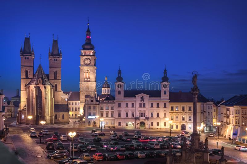 Hradec Kralove, Czechia. View of Market square. With Cathedral of the Holy Spirit and White Tower at dusk royalty free stock images
