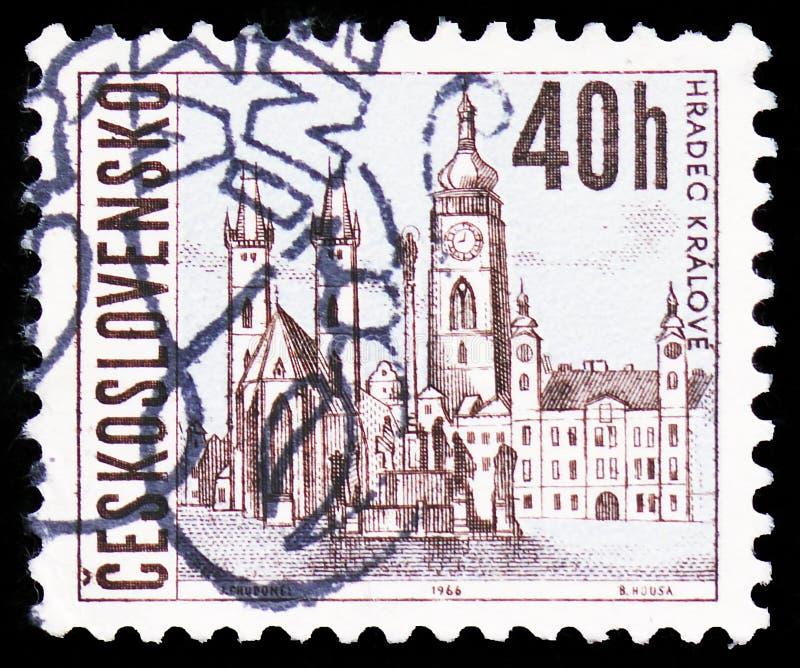Hradec Kralove, Czechoslovak cities serie, circa 1966 stock image