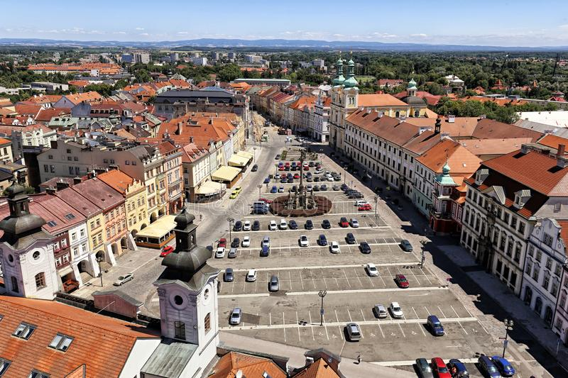 Hradec Kralove old square from above stock images