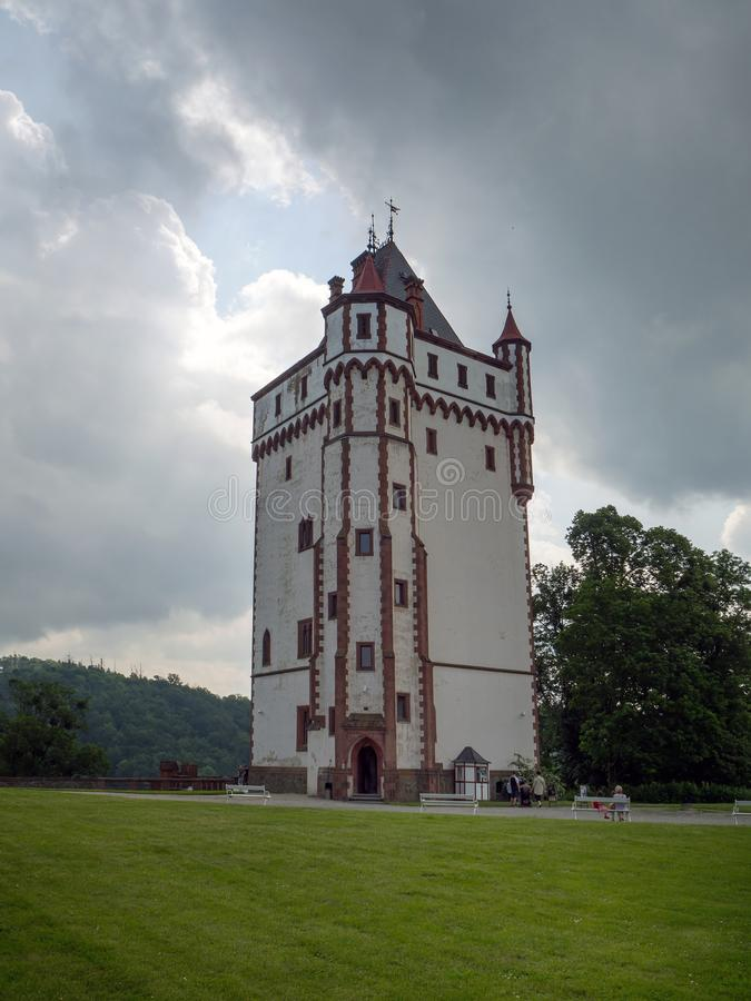 White Tower of Castle Hradec nad Moravici , Czech Republik. HRADEC NAD MORAVICI, CZECH REPUBLIK – JUNE 8, 2019: White Tower of Hradec nad Moravici Castle royalty free stock images
