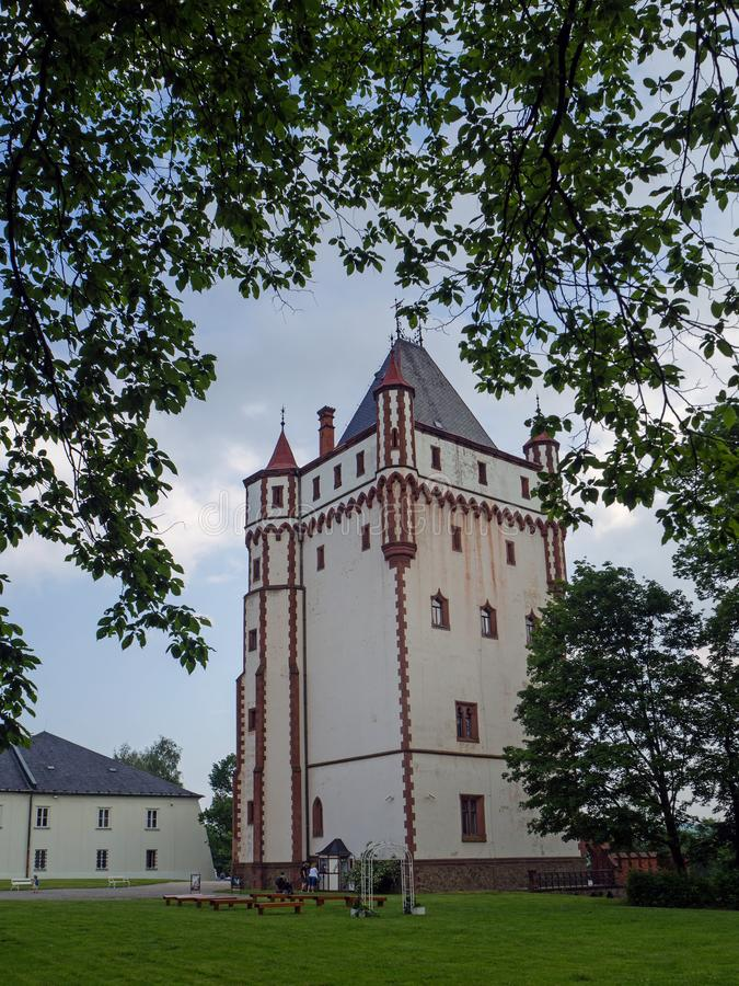 White Tower of Castle Hradec nad Moravici , Czech Republik. HRADEC NAD MORAVICI, CZECH REPUBLIK – JUNE 8, 2019: White Tower of Hradec nad Moravici Castle stock photo