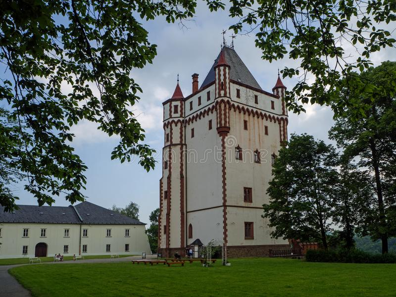 White Tower of Castle Hradec nad Moravici , Czech Republik. HRADEC NAD MORAVICI, CZECH REPUBLIK – JUNE 8, 2019: White Tower of Hradec nad Moravici Castle royalty free stock image