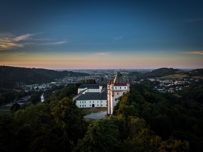 Hradec nad Moravici slott i den Opavia regionen i Tjeckien arkivbild
