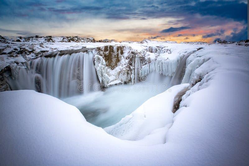 Hranabjargafoss waterfall at Dawn .tif. Hranabjargafoss waterfall at Dawn in Iceland royalty free stock photo