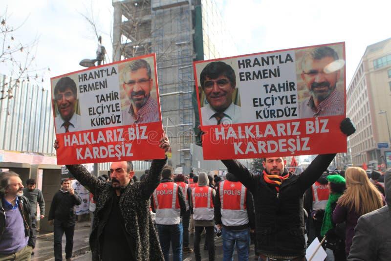 Hrant Memorial in Istanbul. ISTANBUL, TURKEY - JAN 19: Journalist Hrant funeral on January 19, 2016 in Istanbul, Turkey royalty free stock image