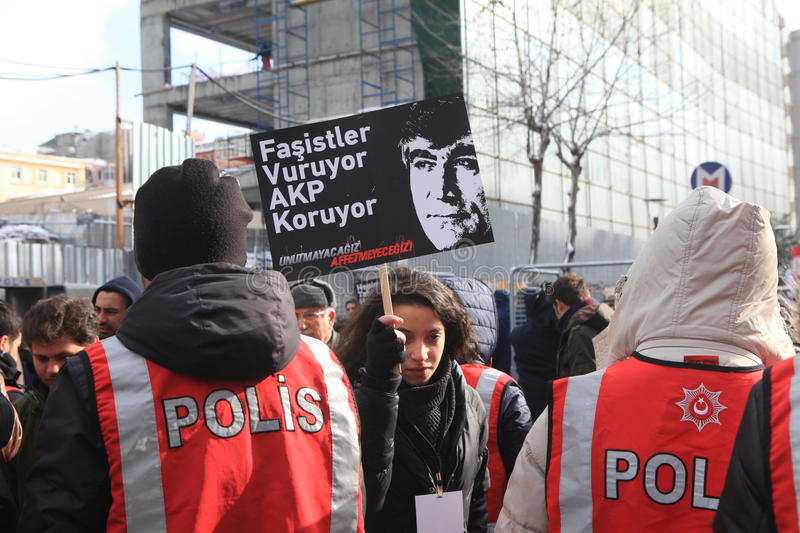 Hrant Memorial in Istanbul. ISTANBUL, TURKEY - JAN 19: Journalist Hrant funeral on January 19, 2016 in Istanbul, Turkey royalty free stock photography