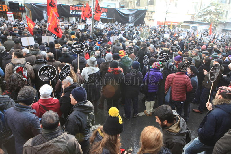 Hrant Memorial in Istanbul. ISTANBUL, TURKEY - JAN 19: Journalist Hrant funeral on January 19, 2016 in Istanbul, Turkey stock photo