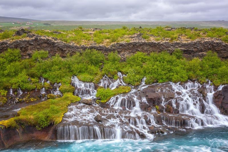 Hraunfossar siklawy lub Lawowi spadki, Iceland Lato piękny krajobraz zdjęcie stock