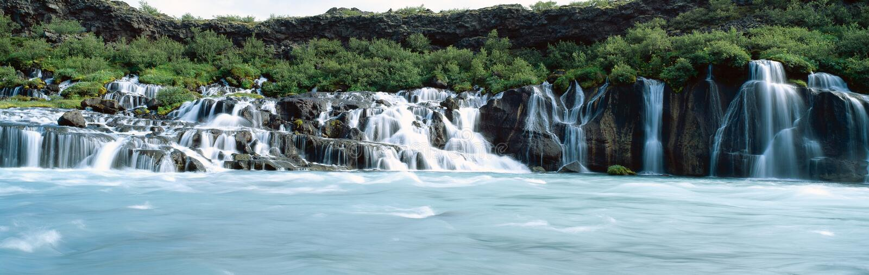 hraunfossar vattenfall arkivbild
