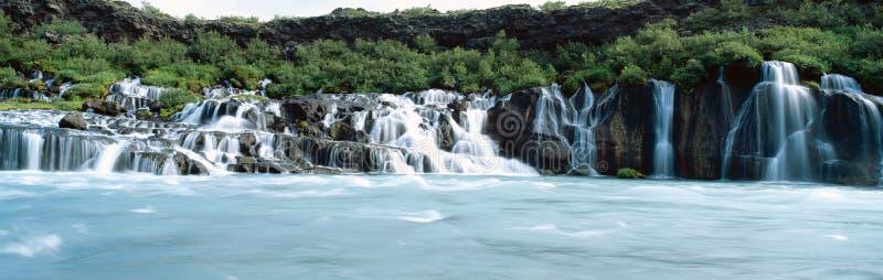 Hraunfossar Wasserfall stockfotografie