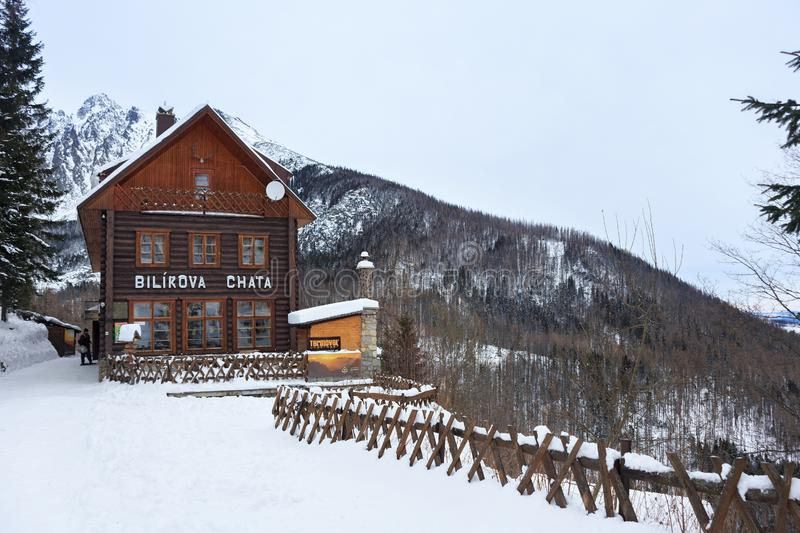 HREBIENOK, SLOVAKIA - JANUARY 07, 2015: Wooden hotel called Bilikova chata. Wooden hotel called Bilikova chata. Is a historical high mountain cottage in the royalty free stock photo