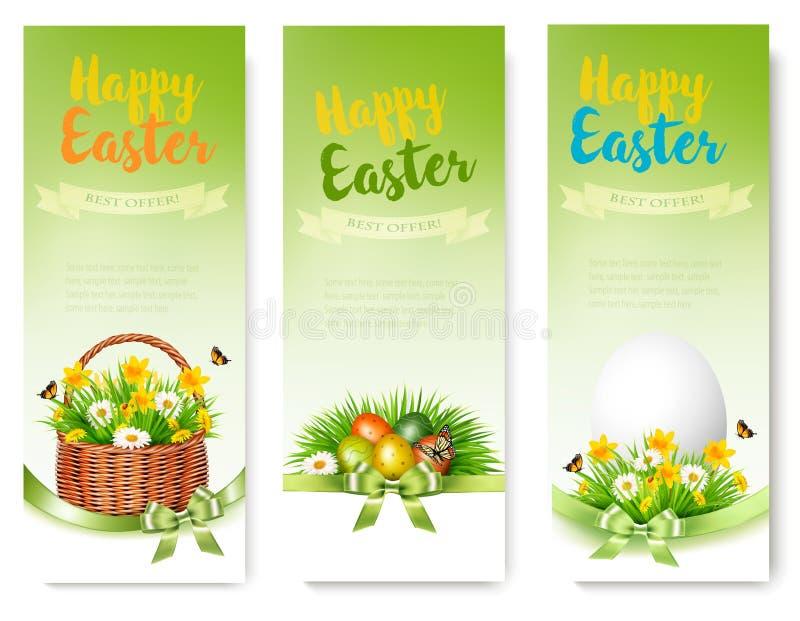 Hree sprzedaży Wielkanocni sztandary Kolorowi jajka i wiosna kwiaty royalty ilustracja