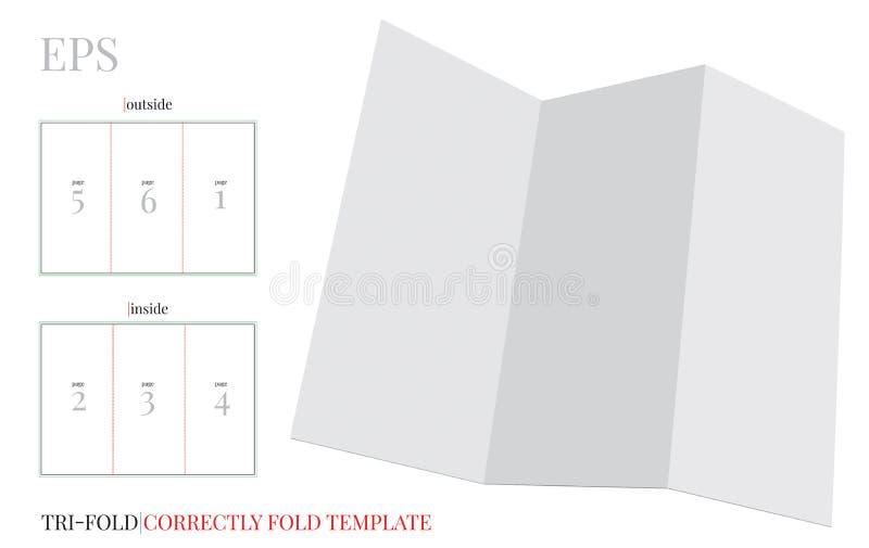 Hreefold小册子模板,与冲切的层数的传染媒介 白色,清楚,空白,被隔绝的小册子嘲笑  库存例证
