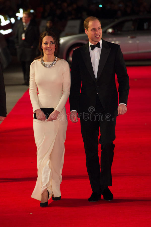 HRH Prince William and Princess Katherine. Duke and Duchess Of Cambridge arriving for the UK Royal Performance of Mandela at the Odeon Cinema Leicester Square stock image