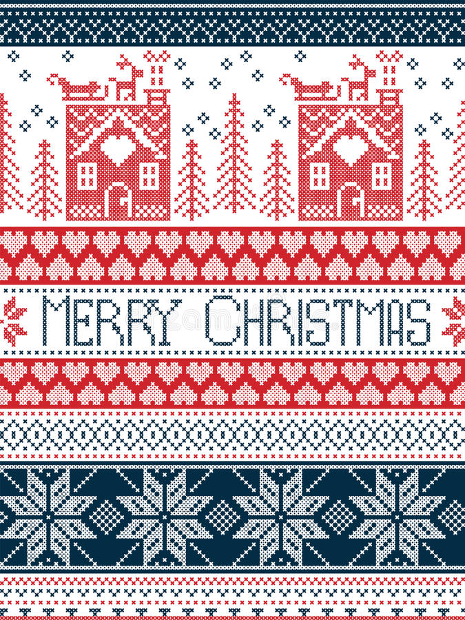 Hristmas, festive winter seamless pattern in cross stitch with gingerbread house, Christmas tree, heart, reindeer in blue, red. Merry Christmas Scandinavian vector illustration
