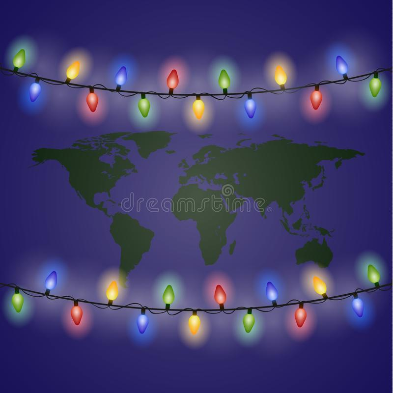 ?hristmas lights and world map. New year. Eps 10 stock illustration
