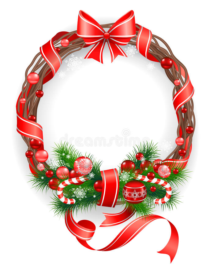 Download Сhristmas Wreath With  Spruce  Tree Royalty Free Stock Images - Image: 25280589