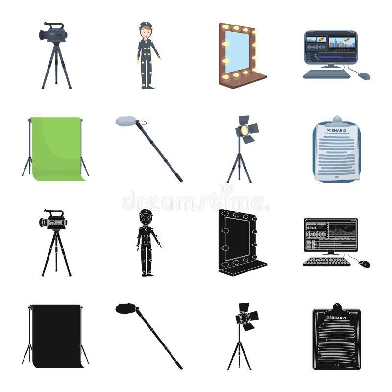 Hromakey、剧本和其他设备 做电影布景在黑色的汇集象,动画片样式传染媒介标志股票 库存例证