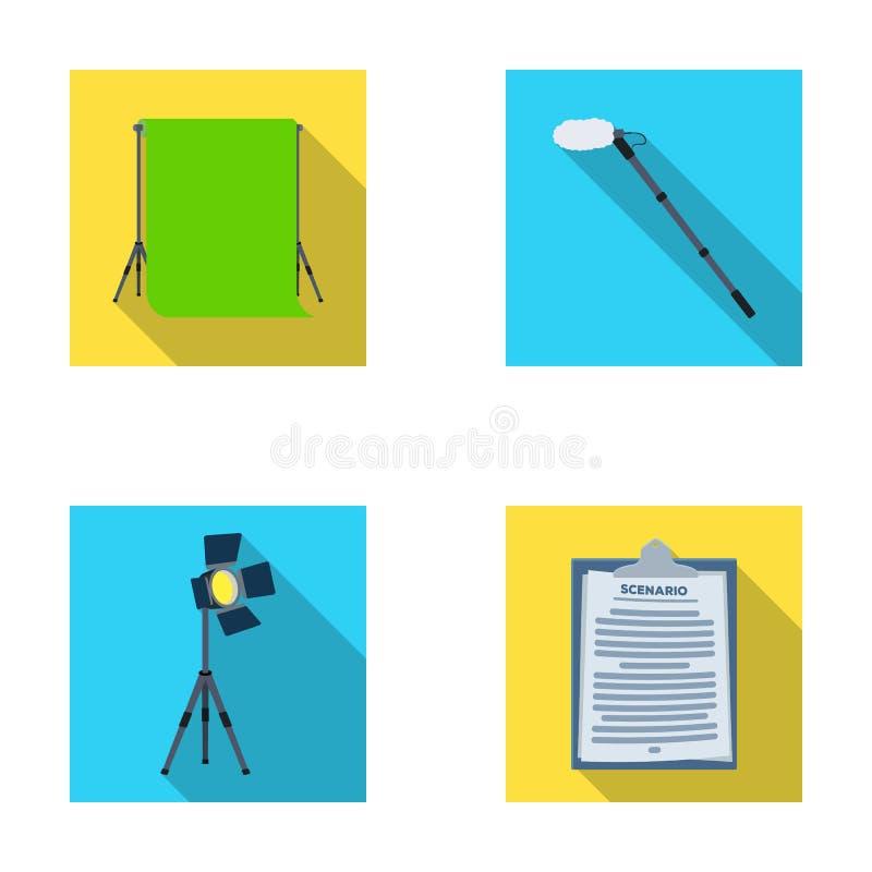 Hromakey、剧本和其他设备 做电影布景在平的样式的汇集象导航标志储蓄例证 库存例证
