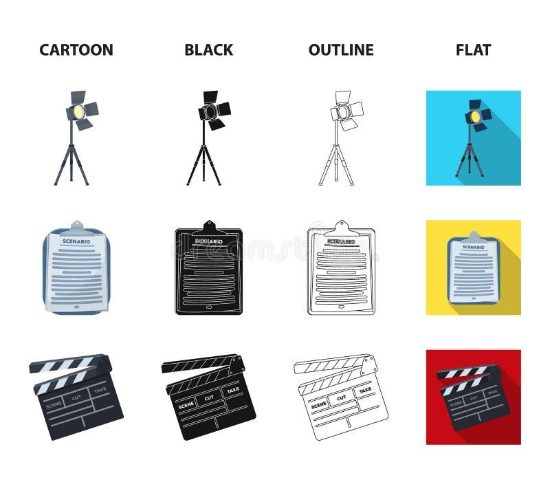 Hromakey, сценарий и другое оборудование Делать значки собрания комплекта кино в шарже, чернота, план, плоский вектор стиля иллюстрация штока