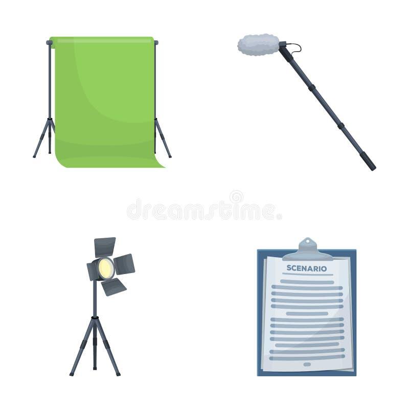 Hromakey, сценарий и другое оборудование Делающ значки собрания комплекта кино в шарже введите запас в моду символа вектора иллюстрация вектора
