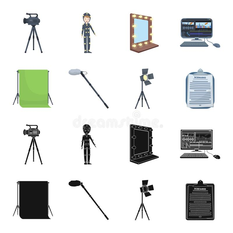 Hromakey, script and other equipment. Making movies set collection icons in black,cartoon style vector symbol stock. Illustration stock illustration