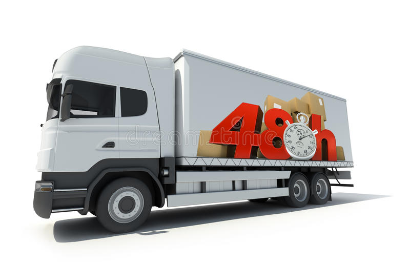48 hrs delivery, truck. Trailer truck with a sign advertising a 48 hrs delivery delay stock photography