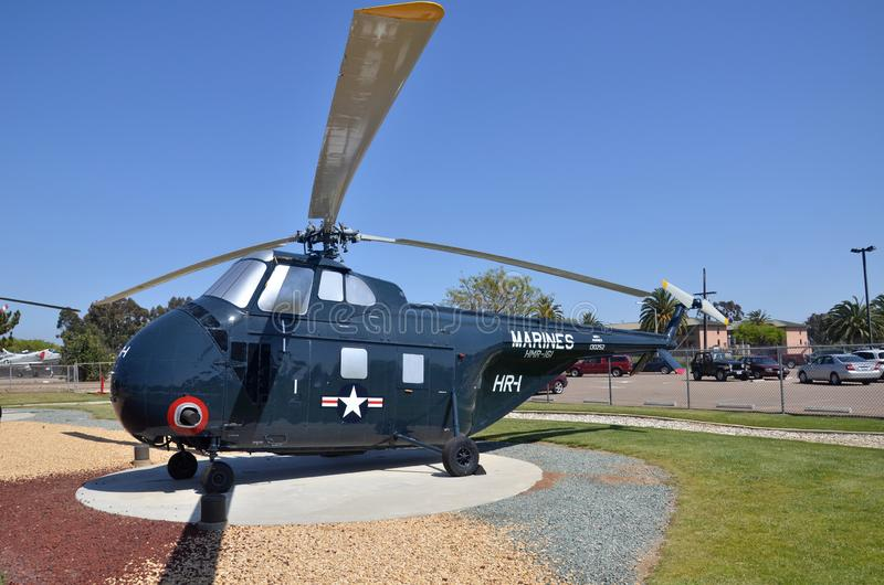 HRS-3 H-19 Chickasaw display inside Flying Leatherneck Aviation Museum in San Diego, California. SAN DIEGO, USA- JULY 1, 2019: HRS-3 H-19 Chickasaw display stock photography