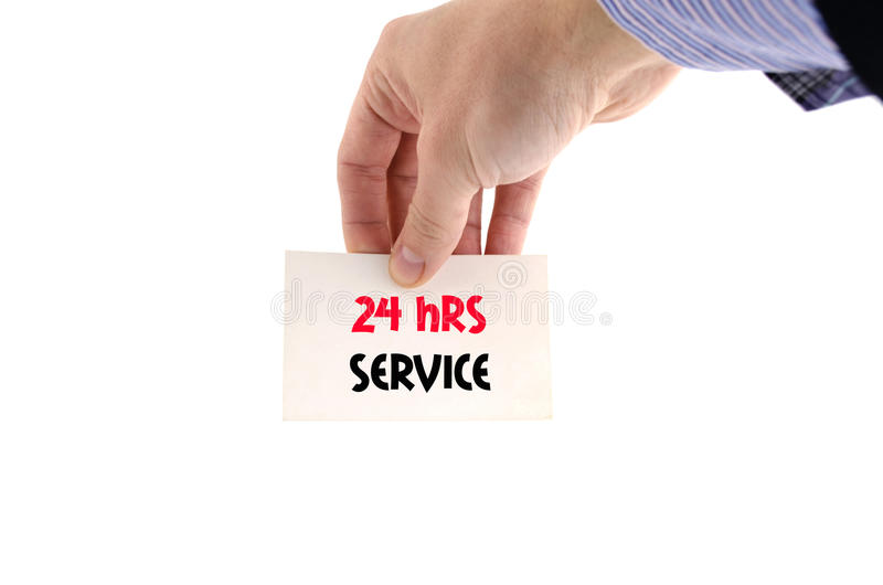 24 hrs service text concept. Isolated over white background stock images