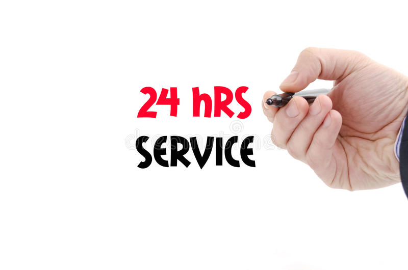24 hrs service text concept. Isolated over white background stock photography