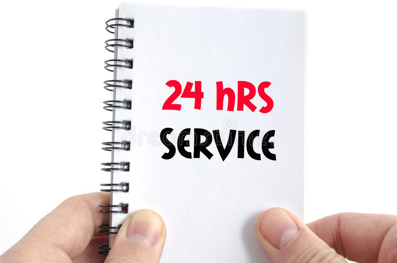 24 hrs service text concept. Isolated over white background royalty free stock photo