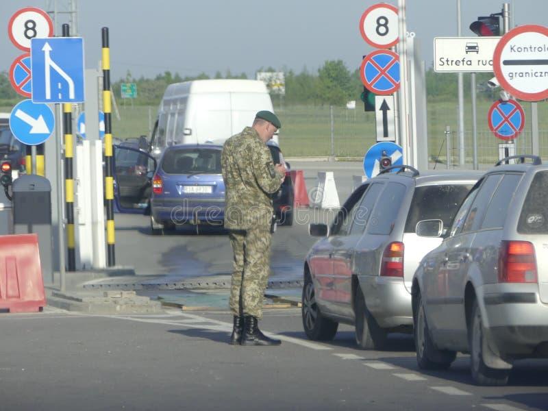 Hrushiv-Budomezh testpunkt på gränsen med Ukraina och Polan royaltyfria foton