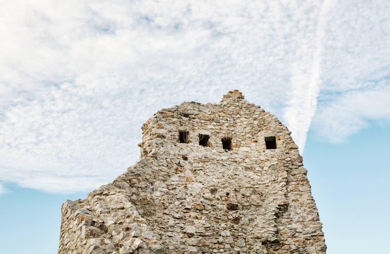 Hrusov城堡废墟,斯洛伐克,细节墙壁场面 库存照片