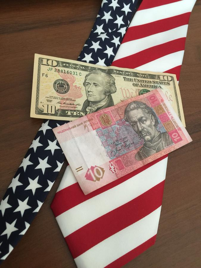 Hryvna und Dollar stockfotografie