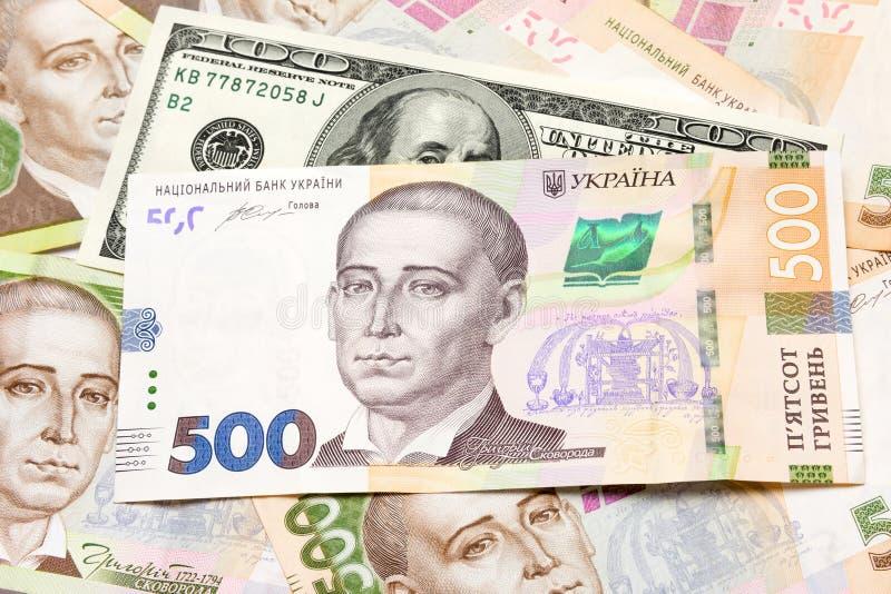 hryvnia钞票,美元,在桌上的欧洲特写镜头谎言 B 库存图片