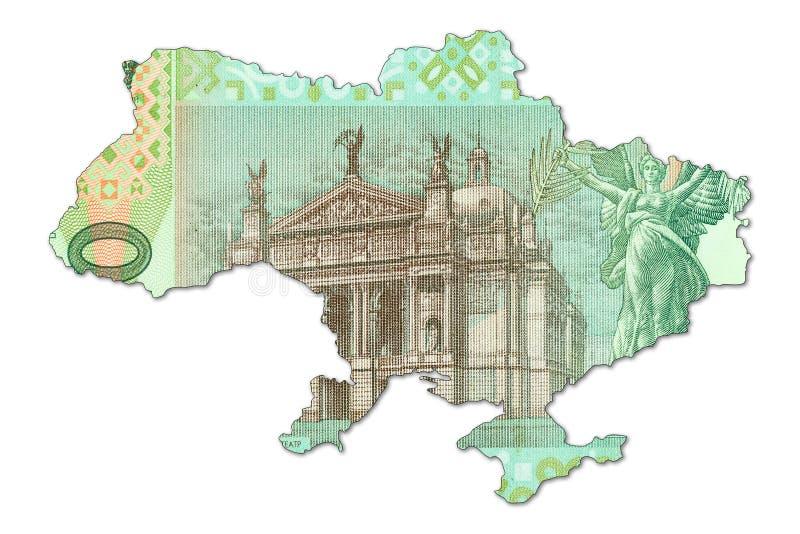 20 hryvnia ukraiński banknot w kształcie Ukraine obrazy stock