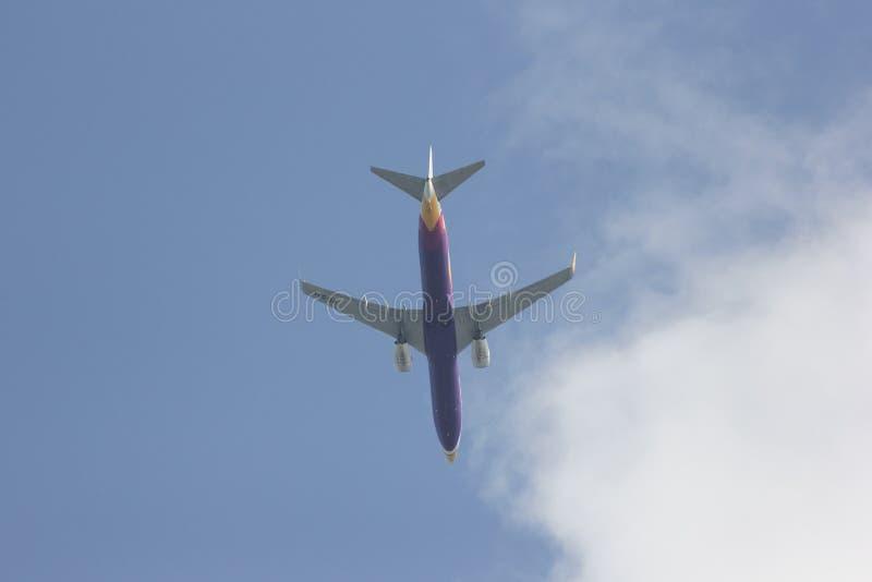 HS-DBA Boeing 737-800 of NokAir . CHIANG MAI, THAILAND -APRIL 28 2015: HS-DBA Boeing 737-800 of NokAir . Take off from Chiangmai airport to Bangkok stock photo