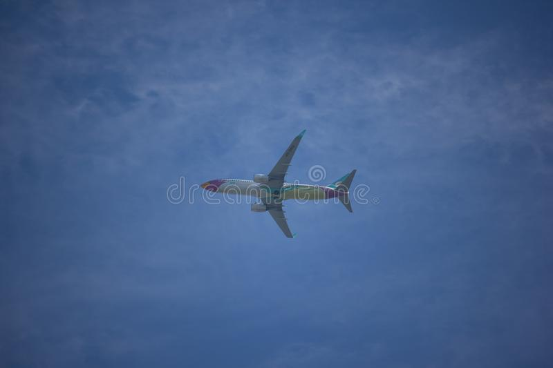 HS-DBQ Boeing 737-800 of NokAir . CHIANG MAI, THAILAND - SEPTEMBER 13 2017: HS-DBQ Boeing 737-800 of NokAir . Take off from Chiangmai airport to Nanning stock photography