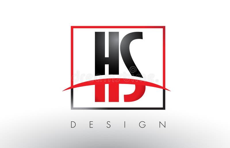 HS H S Logo Letters mit den roten und schwarzen Farben und Swoosh lizenzfreie abbildung