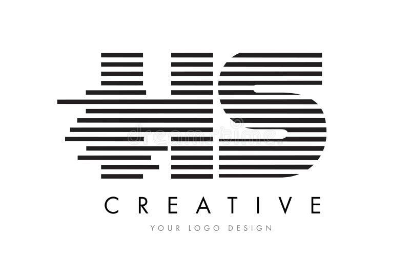 HS H S Zebra Letter Logo Design with Black and White Stripes royalty free illustration