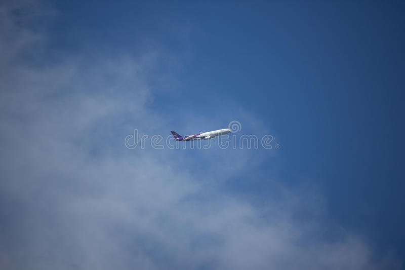 HS-TEU Airbus A330-300 of Thaiairway TG103. CHIANG MAI, THAILAND - AUGUST 17 2017: HS-TEU Airbus A330-300 of Thaiairway TG103. Take off from Chiangmai airport to royalty free stock photo