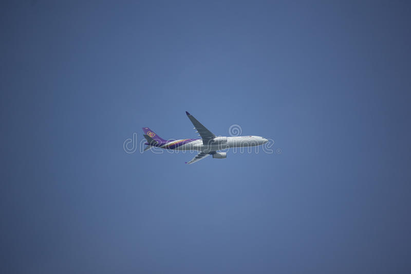 HS-TEU Airbus A330-300 of Thaiairway TG111. CHIANG MAI, THAILAND - AUGUST 26 2017: HS-TEU Airbus A330-300 of Thaiairway TG111. Take off from Chiangmai airport to royalty free stock image